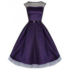 Lindy Bop Aleena lange prom jurk met polkadot stippen violet paars - V