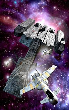 Spaceships in an Escort Mission by Lucas Oleastri.  #Spaceships  #Starships