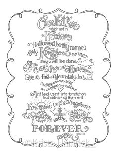 The Lord's Prayer  coloring page in three sizes: 8.5X11,  8X10 suitable for…