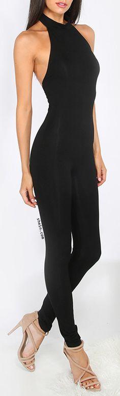 Black Sleeveless Backless Jumpsuit.