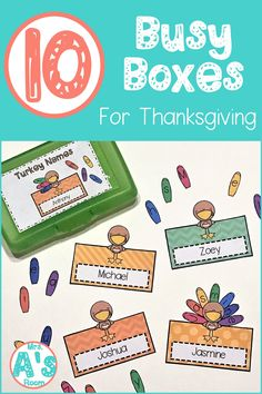 These Thanksgiving busy boxes are perfect for your preschool or kindergarten classroom! All of these ideas and activities are ready to print cut and use! Letters numbers colors and names are all included! Preschool Names, Name Activities, Abc Centers, Fine Motor Skills Development, Puppets For Kids, Kindergarten Themes, Busy Boxes, Teaching The Alphabet, Sewing For Kids