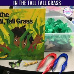 In The Tall Tall Grass Sensory Bin for speech and language therapy. In The Tall Tall Grass story retell Articulation Activities, Speech Therapy Activities, Language Activities, Sensory Activities, Book Activities, Gruffalo Activities, Shape Activities, Preschool Speech Therapy, Speech Language Pathology