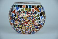 Sostenedor de vela del mosaico mosaico por MadeinTurkeyproduct Turkish Lamps, Moroccan Lamp, Moroccan Style, Mason Jar Candle Holders, Bottle Holders, Mason Jars, Tile Art, Mosaic Art, Mosaic Bottles
