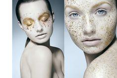 gold splatter makeup by Susanne Spiel
