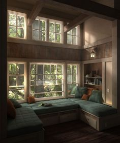 this is the best window seat I have ever seen! Growing up I always wanted my own window seat/reading nook and this is perfect! Window Benches, Window Seats, Window Nooks, Window Bed, Room Window, Open Window, Window Wall, Cozy Place, Design Case