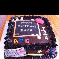 Teacher themed cake by www.dkscakes.com