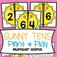 "This ""Sunny Tens"" addition game will help your students learn and practice the number combinations that make ten (friends of ten).Students will match the two halves of a sun to show a combination that totals ten. I suggest printing 2 sets of cards to create a good supply of cards for an engaging game."