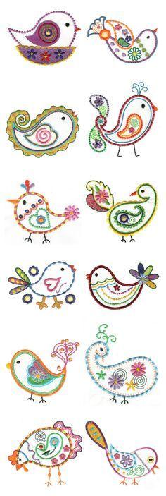 Pajarillos de inspiración adamascada bordados // Embroidered birdies.