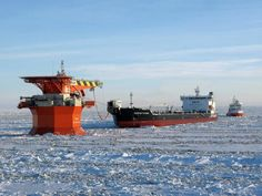 TIMOFEY GUZHENKO - One of the most powerful ice breaker crude oil tanker loading at Varandey oil terminal RUSSIA    Photograph by Sohit Shukla