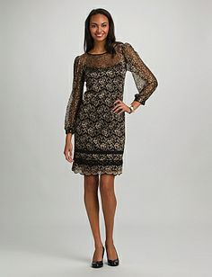 Two-Tone Lace Dress | Dressbarn. Have to try this one on!
