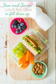 Love all of these school lunch ideas for teens and tween. Healthy and easy recipes to keep the bigger appetites full. Healthy School Lunches, School Lunch Box, Healthy Meals For Kids, Kids Meals, Healthy Snacks, Easy Meals, Healthy Recipes, Easy Recipes, Kid Lunches
