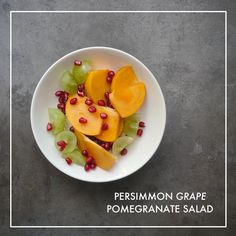 Persimmon Grape Pomegranate Salad is a simple Autumn inspired snack. Whole 30 Snacks, Whole 30 Diet, Whole 30 Recipes, Healthy Cookies For Kids, Healthy Snacks For Kids, Healthy Dinner Recipes, Low Calorie Snacks, Low Calorie Recipes, Pomegranate Salad