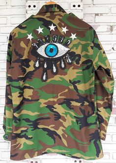 6e749e90c1031 Studded and Patch Camo Jacket   Hand Reworked Studded Vintage Camo Jacket  with Patches   Reworked Studded Vintage Camouflage Jacket Size M