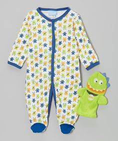 Another great find on #zulily! Green Monster Footie & Puppet - Infant by Duck Duck Goose #zulilyfinds