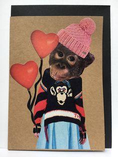 collage art card / collage kunst  kaart handmade by Linda van Deursen  Jip