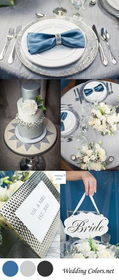 Silver Blue Wedding Inspiration. Perfect for #weddings in the winter. #inspiration #colorpalette