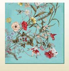 Flower Print Silk Foulard