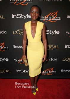 Fabulously Spotted: Lupita Nyong'o Wearing Victoria Beckham Instyle '12 Years A Slave' Cocktail Party - http://www.becauseiamfabulous.com/2014/01/lupita-nyongo-wearing-victoria-beckham-instyle-12-years-a-slave-cocktail-party/