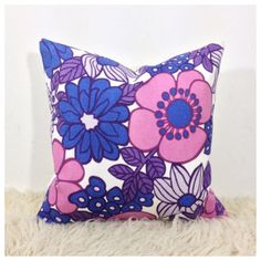 Vintage 1970s Purple Flower Power  Cushion Cover