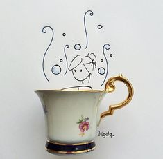 Life is a tea cup I Love Coffee, Coffee Art, Vincent Bal, Doodles, Creative Artwork, Arte Floral, Everyday Objects, Cute Cartoon, Cute Wallpapers