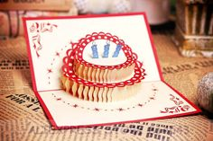 3D Happy Birthday Cake Handmade Creative Kirigami & Origami Pop UP Birthday Greeting & Gift Card With Butterfly Cutout
