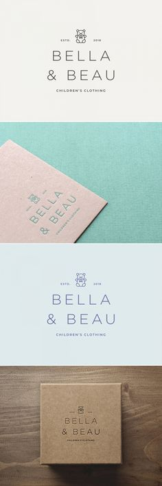Whimsical Bella logo - perfect for children's clothing with friendly bear emblem and classy typeface to appeal to parents. Love the colour combinations - muted and soft to portray children's theme. Collateral Design, Stationary Design, Brand Identity Design, Branding Design, Ci Design, Graphic Design, Logos, Logo Branding, Elegant Logo