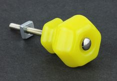 "Antique Lemon Yellow Glass Knob - 1-1/4"""