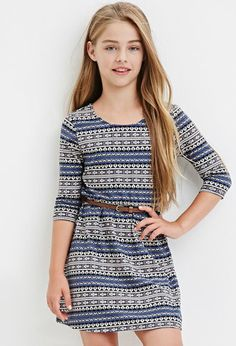 Girls Belted Geo Print Dress (Kids) | Forever 21 girls - 2000183194