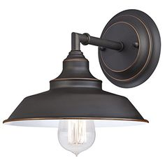 Westinghouse 6343500 Iron Hill One-Light Indoor Wall Fixture, Oil Rubbed Bronze Finish with Highlights and Metal Shade in Wall Lights. Indoor Wall Sconces, Rustic Wall Sconces, Bathroom Sconces, Candle Wall Sconces, Rustic Walls, Bathroom Ideas, Basement Bathroom, Kid Bathrooms, Bronze Bathroom