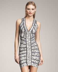 HERVE LEGER Gray Floral-print Bandage Dress Small NWT 100% Authentic RETAIL 2200 #HERVELEGER #StretchBodycon #Cocktail