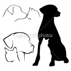 Find dog cat silhouette stock images in HD and millions of other royalty-free stock photos, illustrations and vectors in the Shutterstock collection. Silhouette Tattoos, Dog Silhouette, Silhouette Vector, Cat And Dog Tattoo, Dog Tattoos, Cat Tattoo, Tatoos, Tattoo Perro, Animal Line Drawings