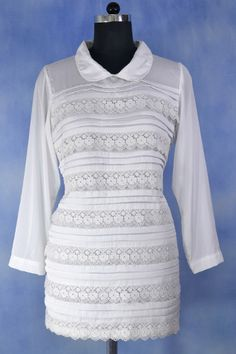 Pleated Lace Tunic with Baby Collar.