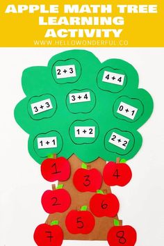 Tree Math Learning Activity This Apple Tree Math Learning Activity is a great fall learning craft for kids to teach numbers and addition!This Apple Tree Math Learning Activity is a great fall learning craft for kids to teach numbers and addition! Math Activities For Kids, Math For Kids, Kindergarten Activities, Math Games, Preschool Activities, Crafts For Kids, Preschool Learning, Indoor Activities, Summer Activities