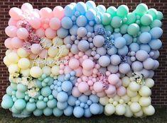 snacks for party Balloon Backdrop, Balloon Wall, Balloon Garland, Balloon Decorations, Birthday Party Decorations, Baby Shower Decorations, Shower Centerpieces, Ballons Pastel, Rainbow Balloons