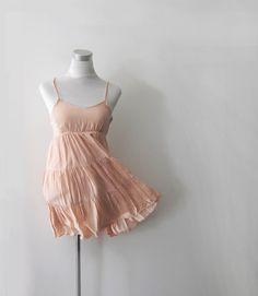 Vintage Cotton Mini Dress Romantic S   Pink  Peach by HappyEight