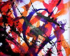 Marcel Barbeau, Sans titre 2,  1953, encre sur papier marouflé sur panneau Marcel Barbeau, San, Abstract, Painting, Ink, Paper, Canadian Artists, Sign, Colors
