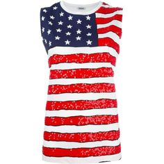 P.A.R.O.S.H. American Flag Print Tank ($197) ❤ liked on Polyvore featuring tops, 4th of july, cotton tank tops, white tank, american flag top, white cotton tops and white singlet