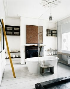 White bathroom with fireplace - WOW!! - HOW AMAZING!! (Hope it's gas fired!!) ⚜