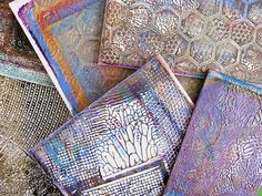 Gelli Monoprinting with Molding Paste Texture Plates! Used Texture Plates from Gelli printing - great for using as book covers or in collage!!