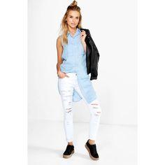 Boohoo Blue Hannah Sleeveless Longline Denim Shirt ($30) ❤ liked on Polyvore featuring tops, blue, denim crop top, denim shirt, sleeveless crop top, basic white t shirt and long sleeve denim shirt