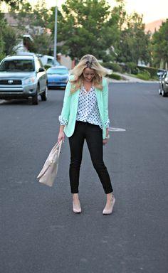 Mint Blazer: Wallis Fashion, c/o {buy here on sale!} | Polka Dot Top: Forever21 {similar} | Pants: Old Navy, c/o | Heels: Target | Handbag: H | Necklace: Bip, c/o | Bracelets: Ily Couture + Forever21