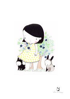 Kids Art Wall  Kawaii baby girl  Mary Jo by pescerosso on Etsy, $25.00
