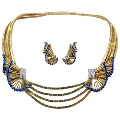 Gubelin Sapphire Diamond Suite | From a unique collection of vintage necklace enhancers at https://www.1stdibs.com/jewelry/necklaces/necklace-enhancers/
