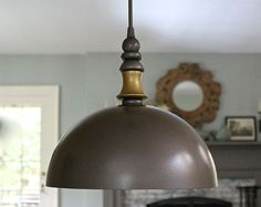 Modern Dome Hanging Pendant Light Gray Metal by mysecretlite