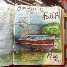 Matthieu 14, 31 God wants us to have faith even when the situation seems impossible. Will you doubt like Peter, or trust Him completely? #illustratedfaith #biblejournaling #bibleart