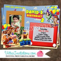 Toy Story 3 Invitations with your child photo with all the character gang. Toy Story Invitations, Custom Invitations, Birthday Invitations, Invites, Toy Story 3, Toy Story Birthday, Toy Chest, Rsvp, Party Themes