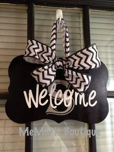 Initial Welcome Sign Hanger - Black White and Metallic - Monogrammed - Chevron Glitter Ribbon Bow on Etsy, $23.00