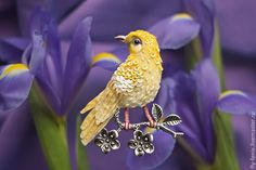 Miniature hand painted natural silk and cotton beaded 'CANARY' textile bird brooch ....................................................................................... by Julia Gorina