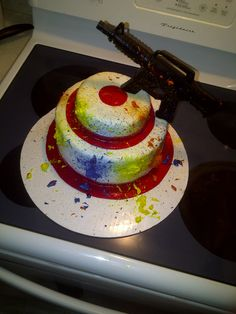 Paintball target cake. Logan would love one of these.