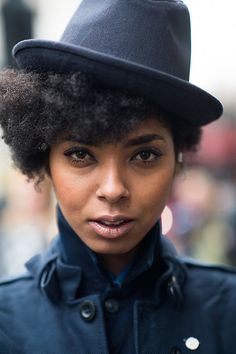 Natural hair topped with a great hat. What could be better?